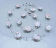 Suesswasserzuchtperlenset Discus Halskette, Armband und Ohrringe - verkauft