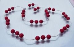 Muschelkernperlenset - Halskette, Armband und Ohrringe -