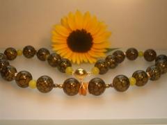 Achat, Jade und Süßwasserperlen mit vergoldetem Magnetverschluss - verkauft