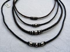 Herren Halskette mit Edelstahlzwischenteile 3/4 mm Leder
