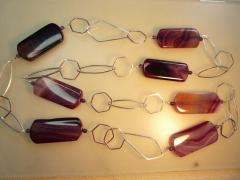 gefärbter Achat und Silberketten